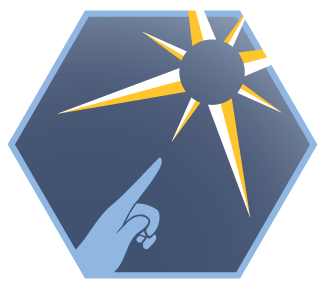 Illustration: Crew Code seal showing showing a finger pointed to a compass rose in the sky