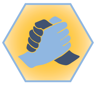 Illustration: Crew Code seal showing showing two hands grasped together