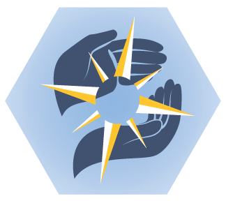 Illustration: Crew Code seal showing a pair of hands holding a compass rose