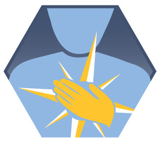 Illustration: Crew Code seal showing showing a person holding the compass rose to their chest