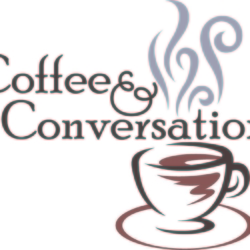 Coffee & Conversation text with a hot cup of coffee image