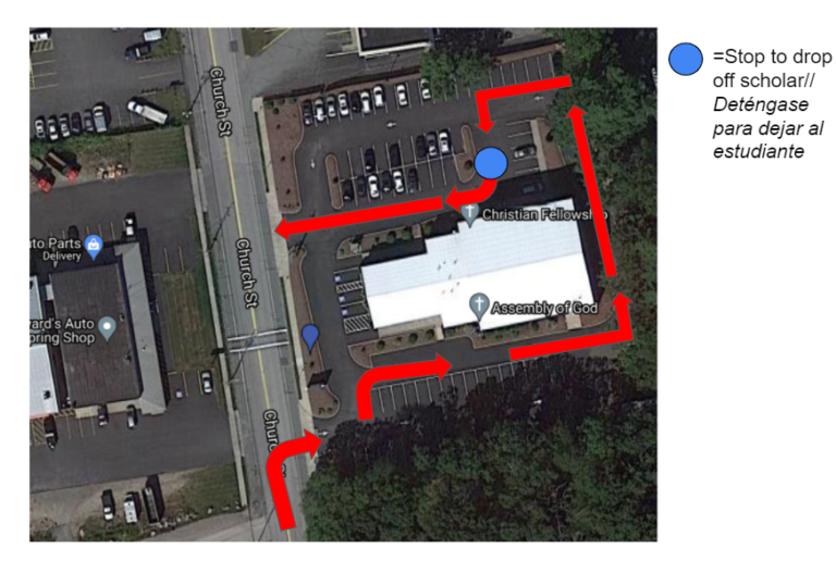 Overhead view of CFC shows route for drop off and pickup